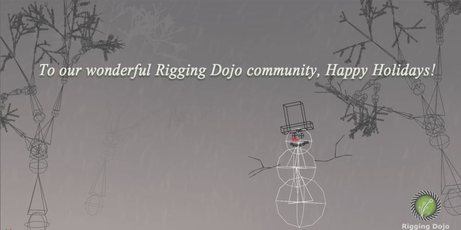 To our wonderful Rigging Dojo community, Happy Holidays - text on image of snow man and trees in a snow storm made out of Maya joints with our Rigging Dojo logo on it