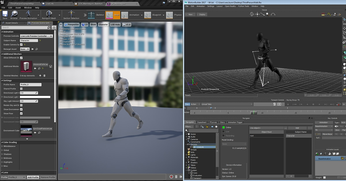 Stream MotionBuilder Animation to Unreal Engine with Live Link